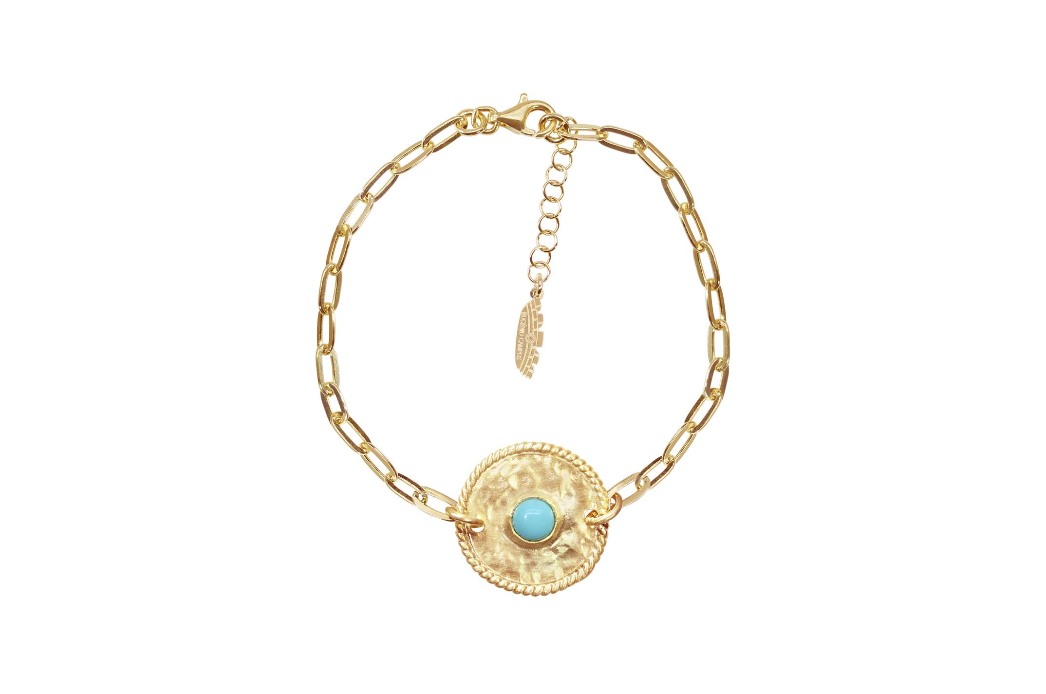 Joia: pulseira;Material: prata 925;Peso: 5.90 gr;Pedras: turquesa;Cor: amarelo;Medida Fio: cm;Medida Pendente:  cm;Género: mulher