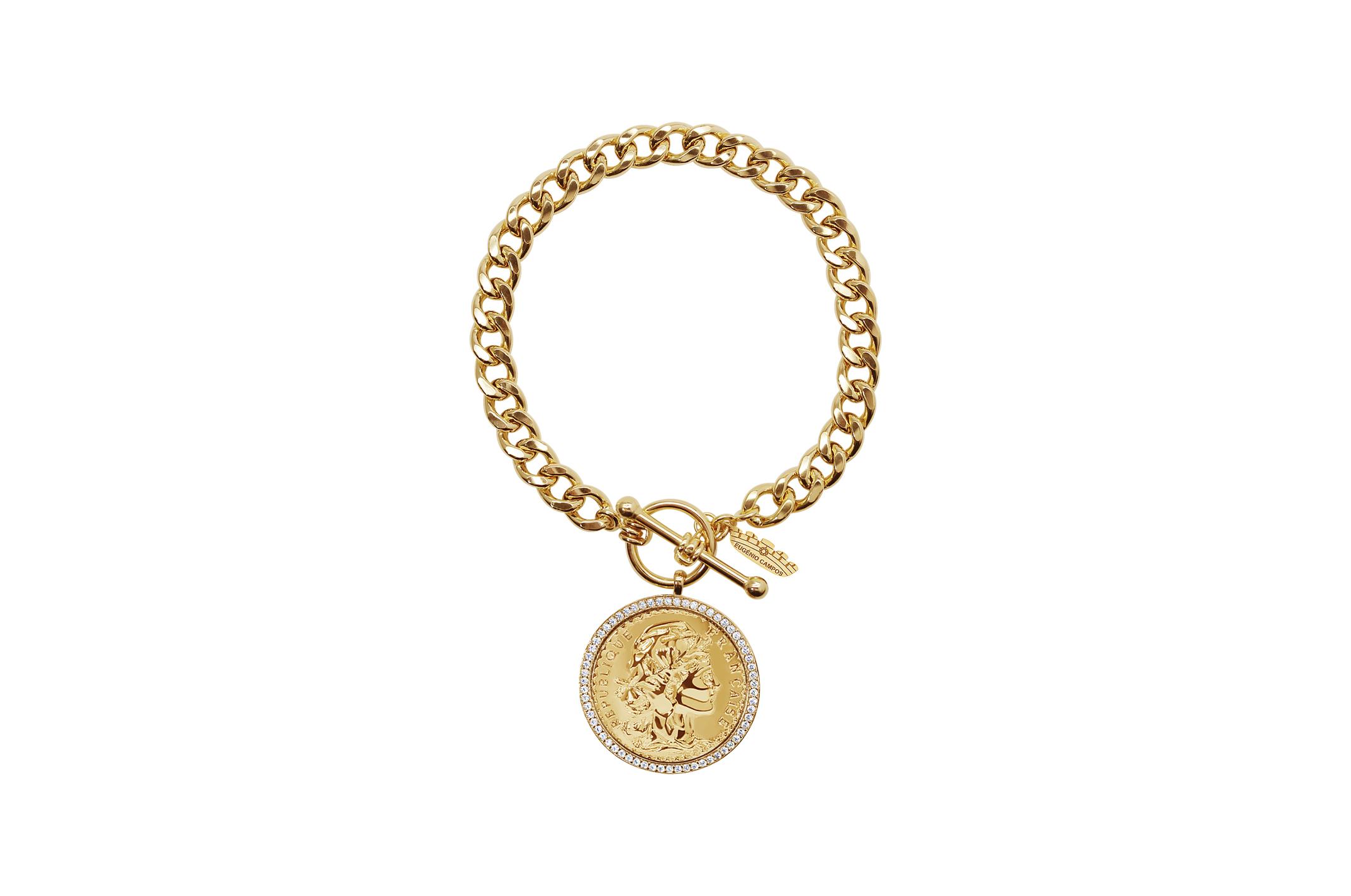 Joia: pulseira;Material: prata 925;Peso: 16.10 gr;Pedras: zircónias;Cor: amarelo;Medida: ;Género: mulher