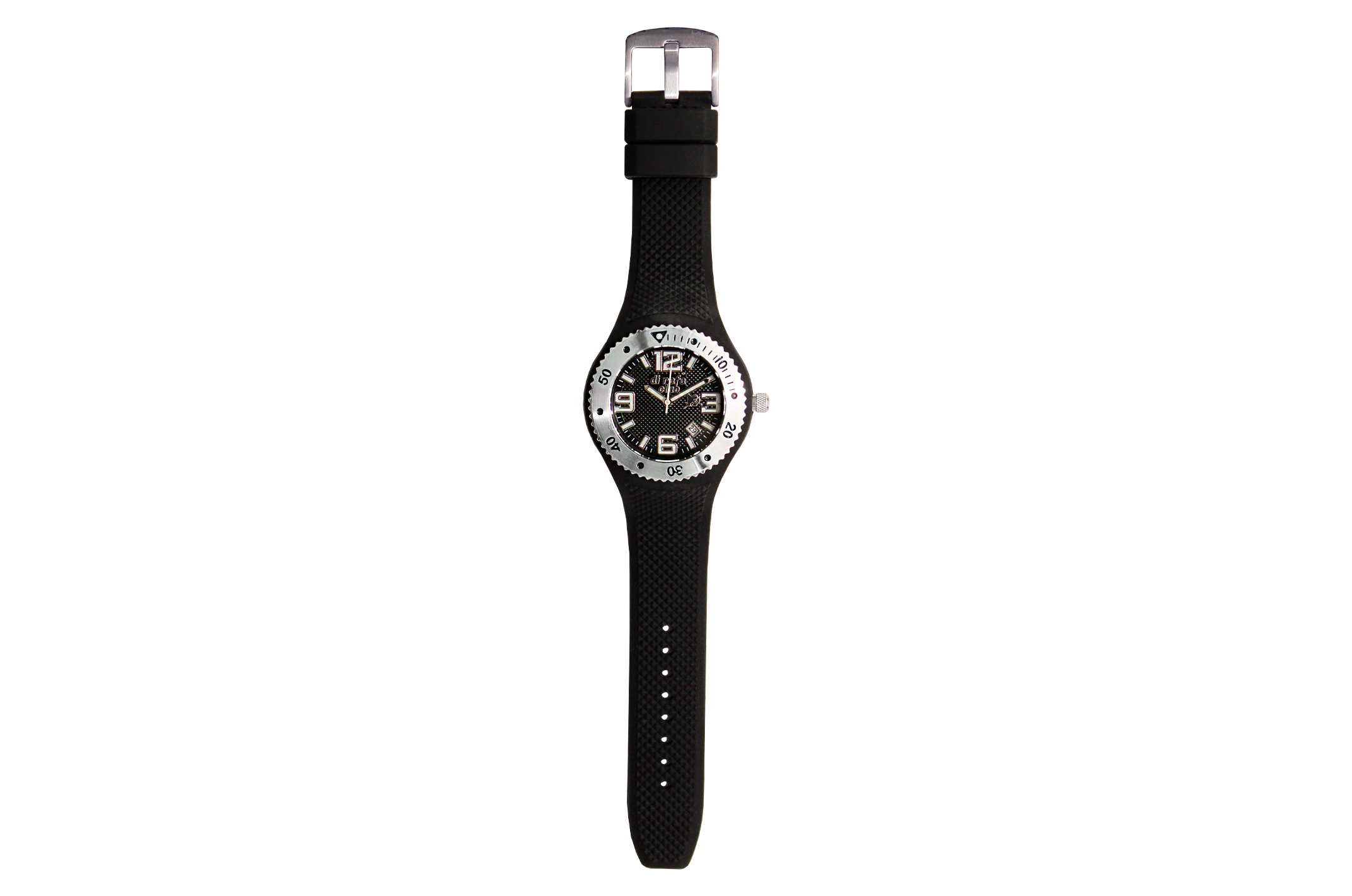 Joia: relógio com ponteiros brancos;Mecanismo: analógico;Tipo fecho:fivela;Material relógio: aço;Material bracelete: silicone;Diâmetro: 41 mm;Largura bracelete: 26 mm;Cor caixa: preto;Cor mostrador: preto;Género: unisexo