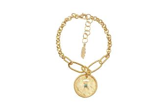 Joia: pulseira;Material: prata 925;Peso: 7.10 gr;Pedras: turquesa;Cor: amarelo;Medida Fio: 15 + 3 cm;Medida Pendente:  2 cm;Género: mulher