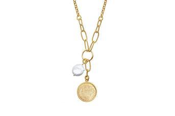 Joia: colar;Material: prata 925;Peso: 17.1 gr;Pedras: pérola natural;Cor: amarelo;Medida Fio:  cm;Medida Pendente:  cm;Género: mulher