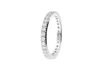 Joia: anel;Material: prata 925;Pedras: zircónias;Cor: branco;Género: mulher