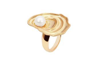Joia: anel;Material: prata 925;Peso: 8.70 gr;Pedra: pérola natural;Cor: amarelo; Medida Mesa: 2.5x1.5 cm;Género: mulher