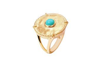 Joia: anel;Material: prata 925;Peso: 7.9 gr;Pedras: turquesa;Cor: amarelo;Género: mulher