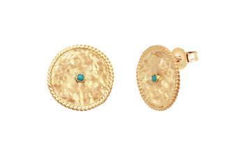 Joia: brincos;Material: prata 925;Peso: 5.90 gr;Pedras: turquesa;Cor: amarelo;Medida:  cm;Género: mulher