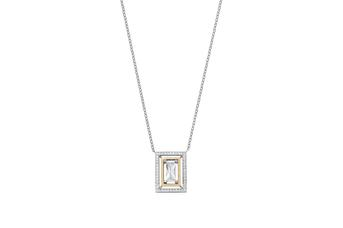 Joia: colar; Material: prata 925 e ouro 9 kt;Peso: 12 gr (prata) e 0.9 gr (ouro);Pedras: zirconias;Cor: bicolor;Tamanho: ;Género: mulher