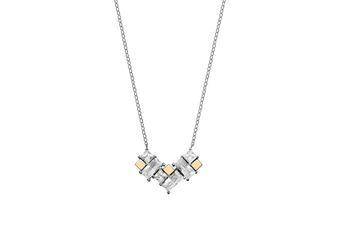 Joia: colar;Material: ouro 9 kt e prata 925;Peso: 9.0 gr (prata) e 0.6 gr (ouro);Pedras: zirconias;Cor: branco;Size: 40 cm + 3 cm;Género: mulher