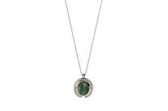 Joia: colar;Material: prata 925 e ouro 9 quilates;Peso: prata 6.5 gr e ouro 0.6 gr;Pedra: Malaquite;Cor: bicolor;Medida: 42 cm;Género: mulher