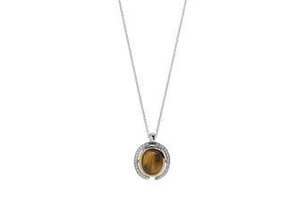 Joia: colar;Material: prata 925 e ouro 9 quilates;Peso: prata 5.1 gr e ouro 0.2 gr;Pedra: Olho-de-tigre;Cor: bicolor;Medida: 42 cm;Género: mulher