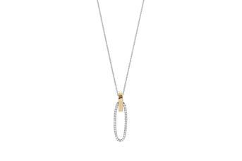 Joia: colar;Material: prata 925 e ouro 9 quilates;Peso: prata 5.0 gr e ouro 0.5 gr;Pedra: zirconia;Cor: bicolor;Medida: 42 cm;Género: mulher