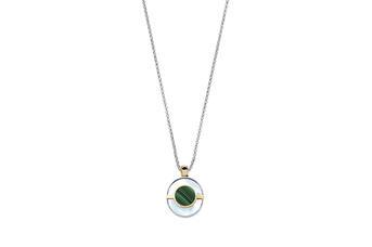 Joia: colar;Material: prata 925 e ouro 9kt;Peso: 13.0 gr (prata) e 1.0 gr (ouro);Pedras: Malaquite e Madrepérola;Cor: bicolor;Género: mulher