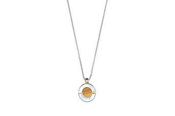 Joia: colar;Material: prata 925 e ouro 9kt;Peso: 13.0 gr (prata) e 1.0 gr (ouro);Pedras: Olho de Tigre e Madrepérola;Cor: bicolor;Género: mulher