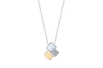 Joia: colar;Material: prata 925 e ouro 9kt;Peso: 9.9 gr (prata) e 1.30 gr (ouro);Pedras: zircónias e madrepérola;Cor: bicolor;Size: 43 cm;Género: mulher