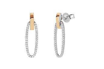 Joia: brincos;Material: prata 925 e ouro 9 quilates;Peso: prata 6.5 gr e ouro 1.0 gr;Pedra: zirconia;Cor: bicolor;Medida: 4 cm;Género: mulher