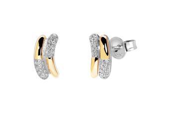 Joia: brincos;Material: prata 925 e ouro 9 quilates;Peso: prata 3.5 gr e ouro 1.5 gr;Pedra: zirconia;Cor: bicolor;Medida: 3 cm;Género: mulher