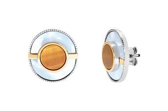 Joia: brincos;Material: prata 925 e ouro 9kt;Peso: 11.80 gr (prata) e 1.20 gr (ouro);Pedras: Olho de Tigre e Madrepérola;Cor: bicolor;Género: mulher