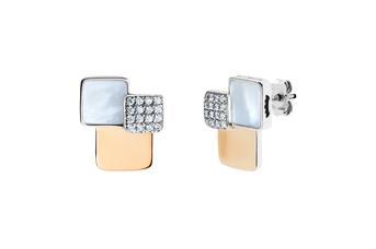 Joia: brincos;Material: prata 925 e ouro 9kt;Peso: 7.0 gr (prata) e 1.40 gr (ouro);Pedras: zircónias e madrepérola;Cor: bicolor;Género: mulher