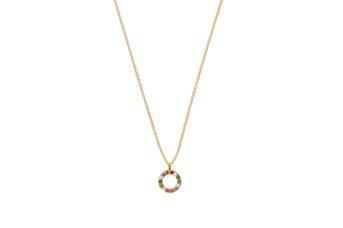 Joia: colar;Material: ouro 19.25 kt;Peso: 1.60 gr;Pedras: zircónias;Cor: amarelo;Tamanho: 40 cm + 3 cm;Género: mulher