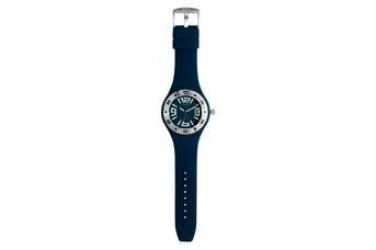 Joia: relógio com ponteiros brancos;Mecanismo: analógico;Tipo fecho:fivela;Material relógio: aço;Material bracelete: silicone;Diâmetro: 41 mm;Largura bracelete: 26 mm;Cor caixa: prateado;Cor mostrador: azul escuro;Género: unisexo