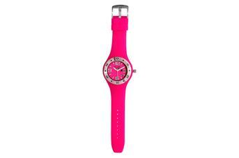 Joia: relógio com ponteiros brancos;Mecanismo: analógico;Tipo fecho:fivela;Material relógio: aço;Material bracelete: silicone;Diâmetro: 41 mm;Largura bracelete: 26 mm;Cor caixa: prateado;Cor mostrador: rosa;Género: rapariga