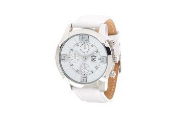 Joia: relógio;Mecanismo: analógico;Tipo fecho: fivela;Material relógio: aço;Material bracelete: pele;Diâmetro: 44 mm;Largura bracelete: 20 mm;Cor caixa: prateado;Cor mostrador: branco;Cor bracelete: branco;Género: mulher